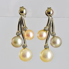 PEARL EARRINGS 3 COLOURS OF PEARL GENUINE DIAMONDS 14K WHITE GOLD GIFT BOXED NEW