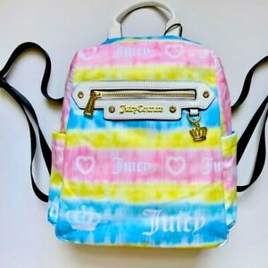 Juicy Couture TIEDYE TIE LIGHT Rainbow Backpack Purse New with tag
