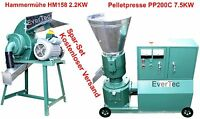 Pelletpresse PP200C 7.5KW & Hammermühle HM158 2.2KW Holz & Tier Pellet Set