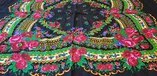 Vintage Polish Tybetki Shawl-Scraf dresser-table cloth hand- printed Japan 37X39