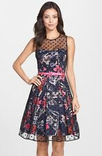 $138 ELIZA J ILLUSION YOKE MESH &  FAILLE FIT & FLARE DRESS SIZE 6