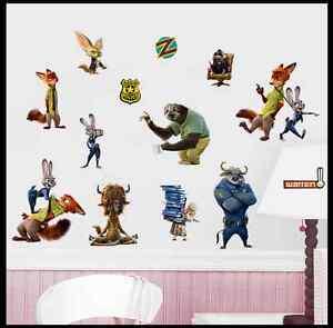 Disney Zootopia Cartoon Animals Wall Stickers Kids Bedroom Decor rabbit fox bull