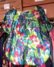 Notations Bat Sleeved Dressy Polyester/Silk* Tropical Vegetation Blouse:$12.95