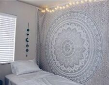 Silver Ombre Mandala Wall Hanging Twin Bed Sheet Tapestry Beach Throw Indian