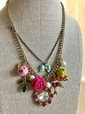 NWT 100% Betsey Johnson Pink Piggy Rose Prince Frog Love Bird Necklace