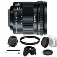 Canon EF-S 10-18mm f/4.5-5.6 IS STM Lens for Canon EOS Rebel + Lens Hood + More