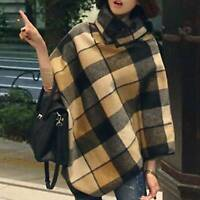 Womens Thick Plaid Check Wool Cloak Cape Poncho Kimono Shawl Jacket Coat Outwear