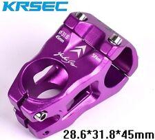 KRSEC Aluminium stems MTB Mountain XC DH Road Bike Short Stem 31.8*45mm Purple