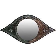 Large Eye Shape Moroccan Mirror, Resin and Camel Bone Inlaid
