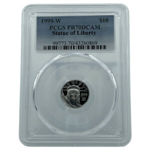 1999-W PCGS PR70DCAM Statue Of Liberty Platinum Eagle $10 Flawless Coin