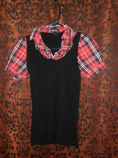 """Wet Seal, woman's """"Abby Sciuto"""" style, stretchy black w/red plaid top, sz M"""