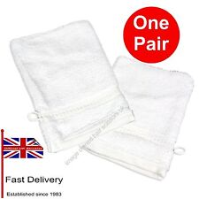 White Towelling Mitts PAIR for Manicure Pedicure Beauty Spa Therapy 2 X Mitts