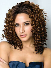 New Sexy Women's Medium Brown Curly Hair Wigs Fashion Girl Wig