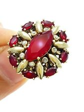 STERLING 925 SILVER SIZE 7.5 RUBY RING TURKISH HANDMADE EL SULTAN JEWELRY R2979
