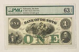 1863 Nebraska, Bank of De Soto $1 Obsolete Currency PMG 63 EPQ NE25G6c