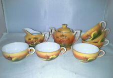 Child Size Tea Set Hand Painted Japan Sugar Creamer 6 Cups Windmill Miniatures