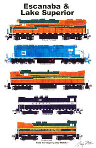 """Escanaba & Lake Superior Locomotives 11""""x17"""" Poster by Andy Fletcher signed"""