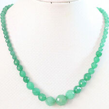 "fashion Green 6-14mm Faceted Natural Emerald Round Beads Necklace 18""AA ON SALE"