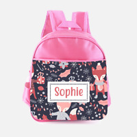 Children/'s School Bag Personalised Bunny Flowers Girls Pink Kids Backpack