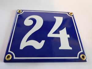 Old French Blue Enamel Porcelain Metal House Door Number Street Sign / Plate 24