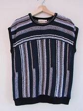 Tory Burch Sz M Navy White Pink Striped Open Knit Dolman Sleeveless Pullover Top