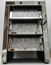 Sparkling Silver Mirrored Diamond Crush Quality 3 Drawer Bedside