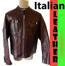 MOD cafe racing ITALIAN LEATHER jacket motorcycle vespa biker stripe oily large