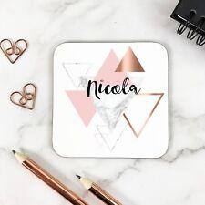 Personalised Rose Gold Geometric Triangular Name Glossy Wooden Coaster