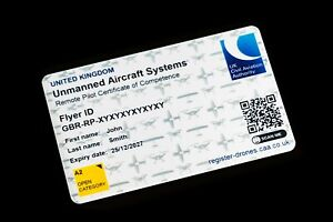 CAA A2 CofC Card - Drone Pilot (Unmanned Aircraft Operator) ID Card