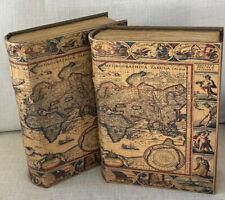 Pier 1 Imports Antique Atlas Book Magnetic Secret Storage Box Shelf Decor 2 Set