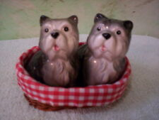 ADORABLE - Puppies in Basket - Salt n Pepper shakers - ceramic & wicker - VrCUTE