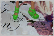 Fashion Chaussure Plate Forme Barbie Poupée Mannequin Dress Verte