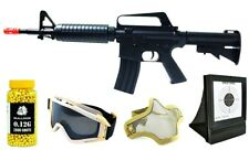 Pack Combo M4 M16 AR15 Spring AirSoft Rifle Gun Bundle BB Target Goggles Mask