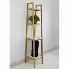 Bamboo Ladder with Metal Shelving Unit 4 Tier