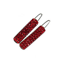 Hand Made Hair Jewelry Simple swarovski crystal Covered Rectangle Barrettes, Red