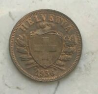 1936 Switzerland 2 Rappen - Nice Red Brown AU/UNC
