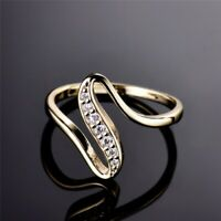 14k Yellow Gold Over 0.50Ct Round Diamonds Vintage Engagement Wedding Wave Ring