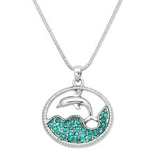 "Dolphin & Ocean Wave Charm Pendant Necklace - Sparkling Crystal - 17"" Chain"