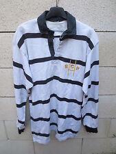 VINTAGE Maillot rugby R.C PONTIVY Pontivien shirt blanc noir rayé ancien L