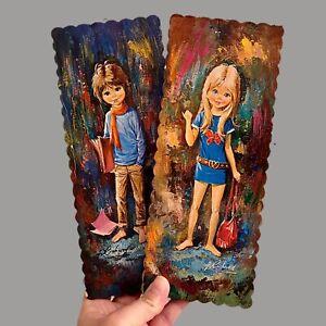 1970er Pressholz-Bilder Big Eyes Kinder 24cm Vintage Minikleid Mädchen Junge