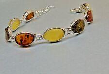 Sterling Silver Linked Bracelet Baltic Amber Honey,Green,Butter Stones Handmade