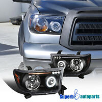 For 2007-2013 Toyota Tundra Sequoia LED Halo Projector Headlights Lamps Black
