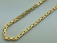 "Men's Women 10K Yellow Gold Hollow Byzantine Link Chain Necklace 3MM 18""-24"""