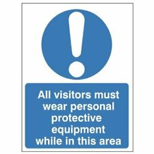 All Visitors Must Wear PPE While In This Area Sign  150 x 200 Self Adhesive