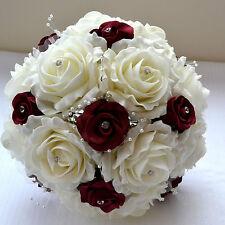 Beautiful vintage style Christmas winter wedding bridal bouquet ivory & burgundy