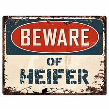 PP1806 Beware of HEIFER Plate Rustic Chic Sign Home Store Wall Decor Gift