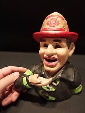 Antique Vintage Style Fireman Fire Fighter Cast Iron Coin Bank, John Harper 1915