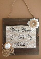Primitive Barn Wood Burlap Panel Here Comes The Bride Flower Wedding Shabby Chic
