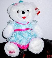 "2015 WalMART CHRISTMAS Snowflake TEDDY BEAR White Girl 20"" Blue/Pink Outfit NWT"