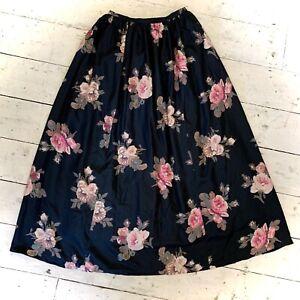 Retro Vintage Laura Ashley Pure Silk Maxi Skirt Net Underskirt Size 10